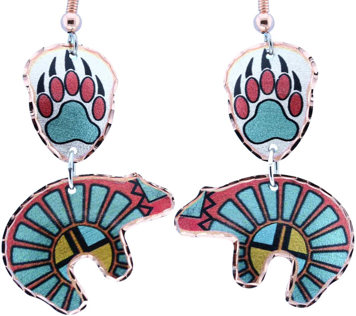 Dangle SW Native Fetish Bear & Bear Paw Earrings