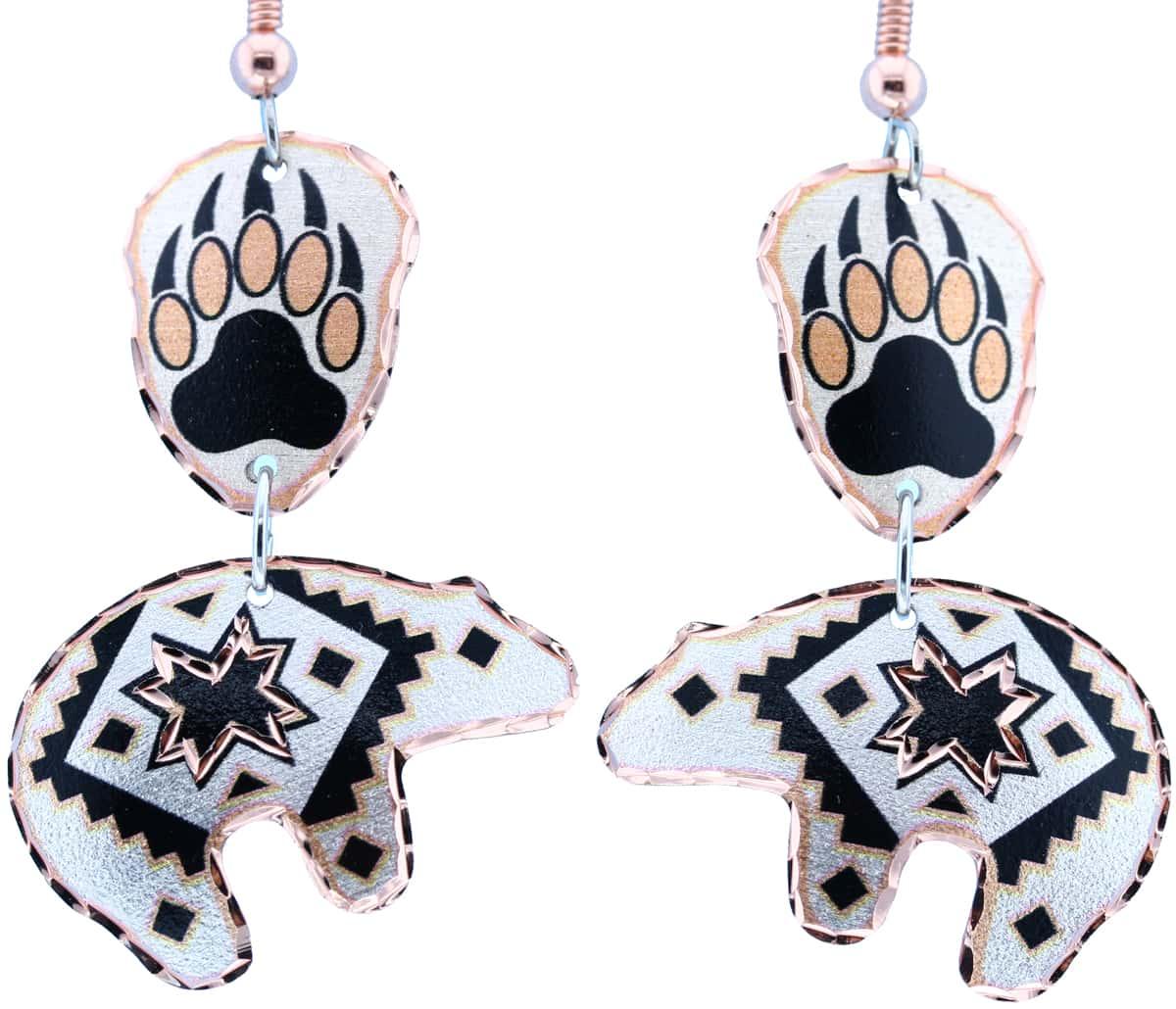 Bear & Bear Paw Dangle Earrings