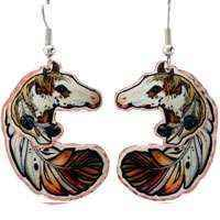 Copper Feather Earrings Created in Colorful Artwork