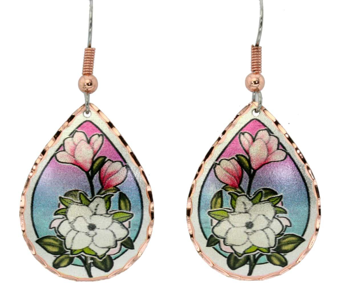 Teardrop Magnolia Earrings