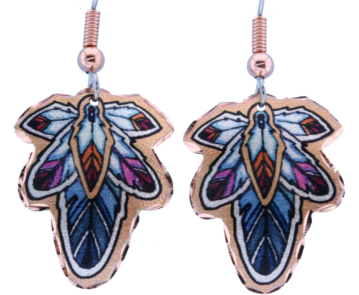 Colorful Cut Out Copper Feather Earrings