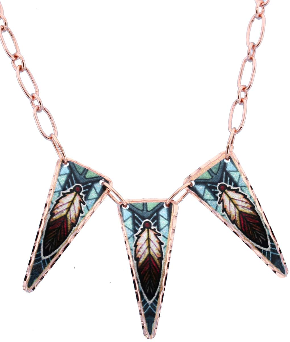Colorful Feather Copper Necklaces
