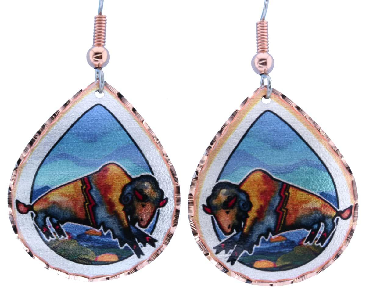 Colorful Native Art Buffalo Earrings