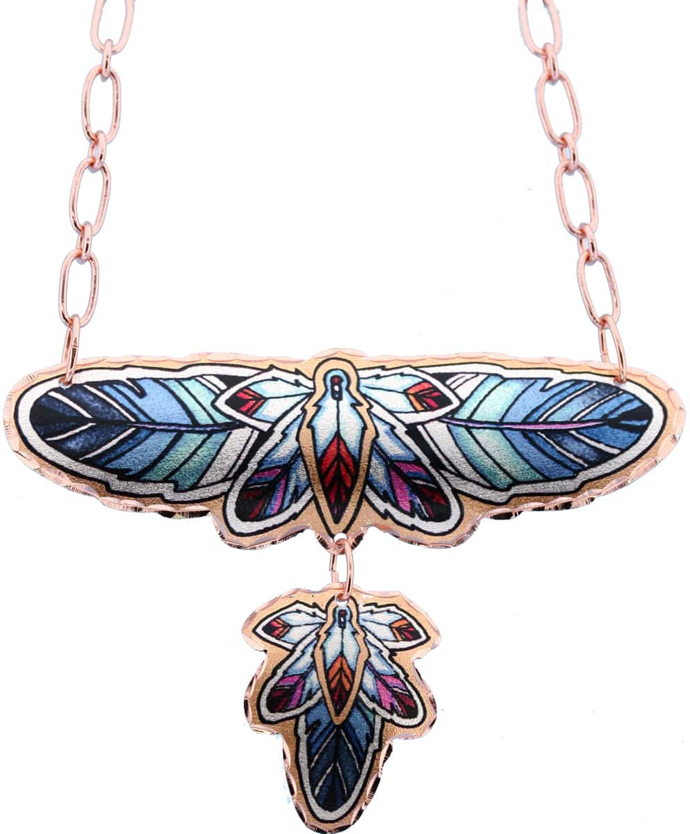 Dangle Copper Feathers Necklace with Copper Chain
