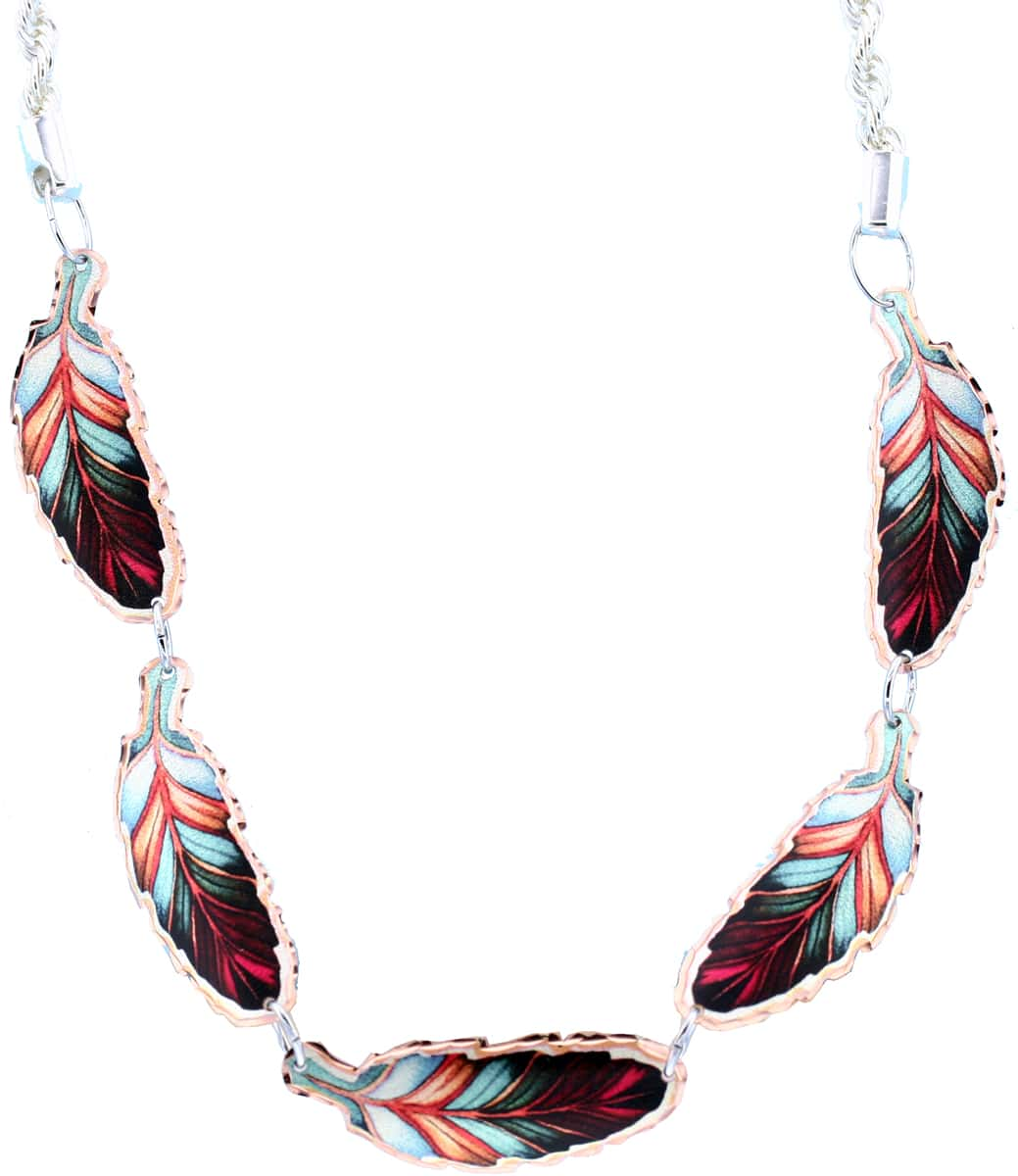 Copper Colorful Feather Choker Necklace