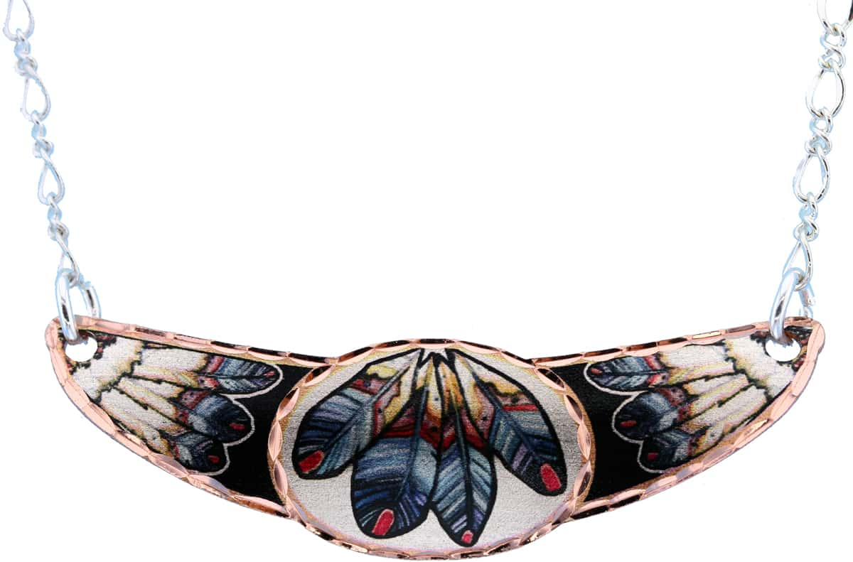 Copper Feather Art Choker Necklace