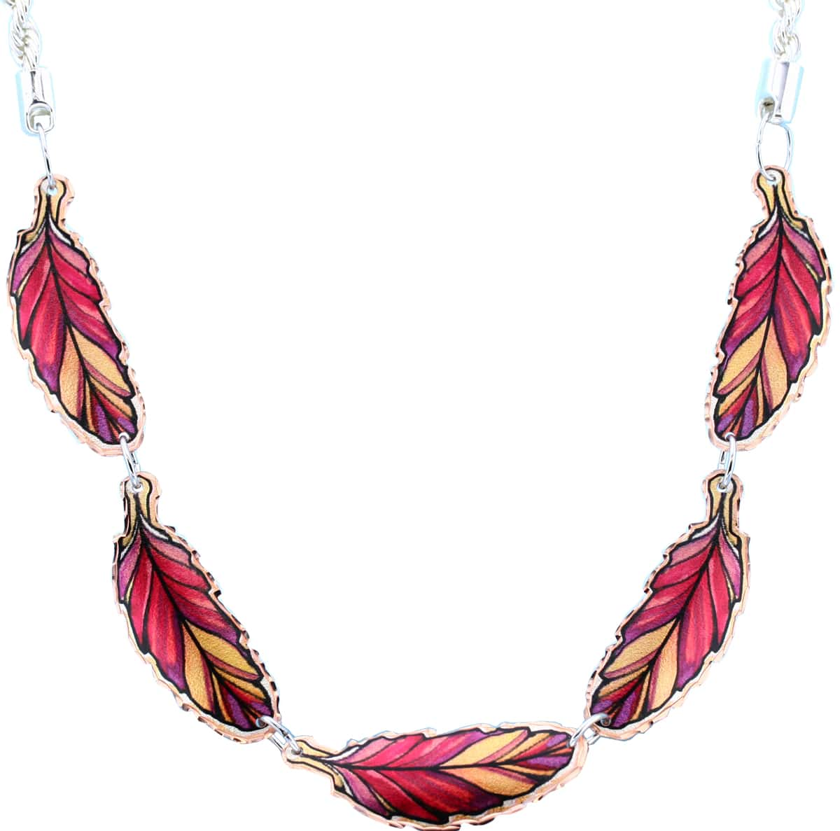 Copper Red Feather Choker Necklace