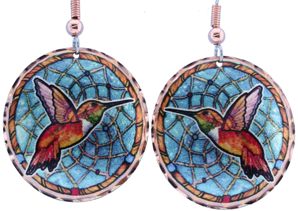 Gorgeous Hummingbird Earrings with Dream Catcher Artwork Background