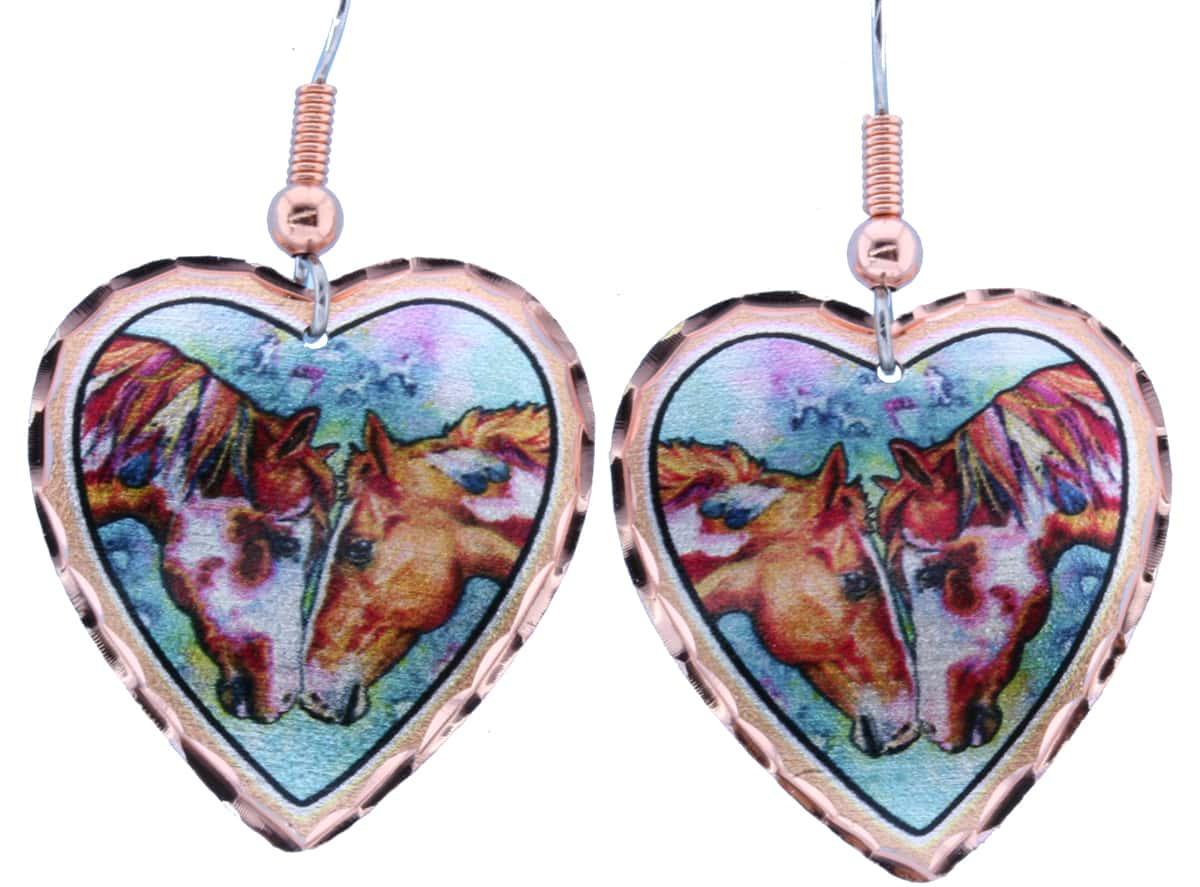 Heart Shape Horses Earrings