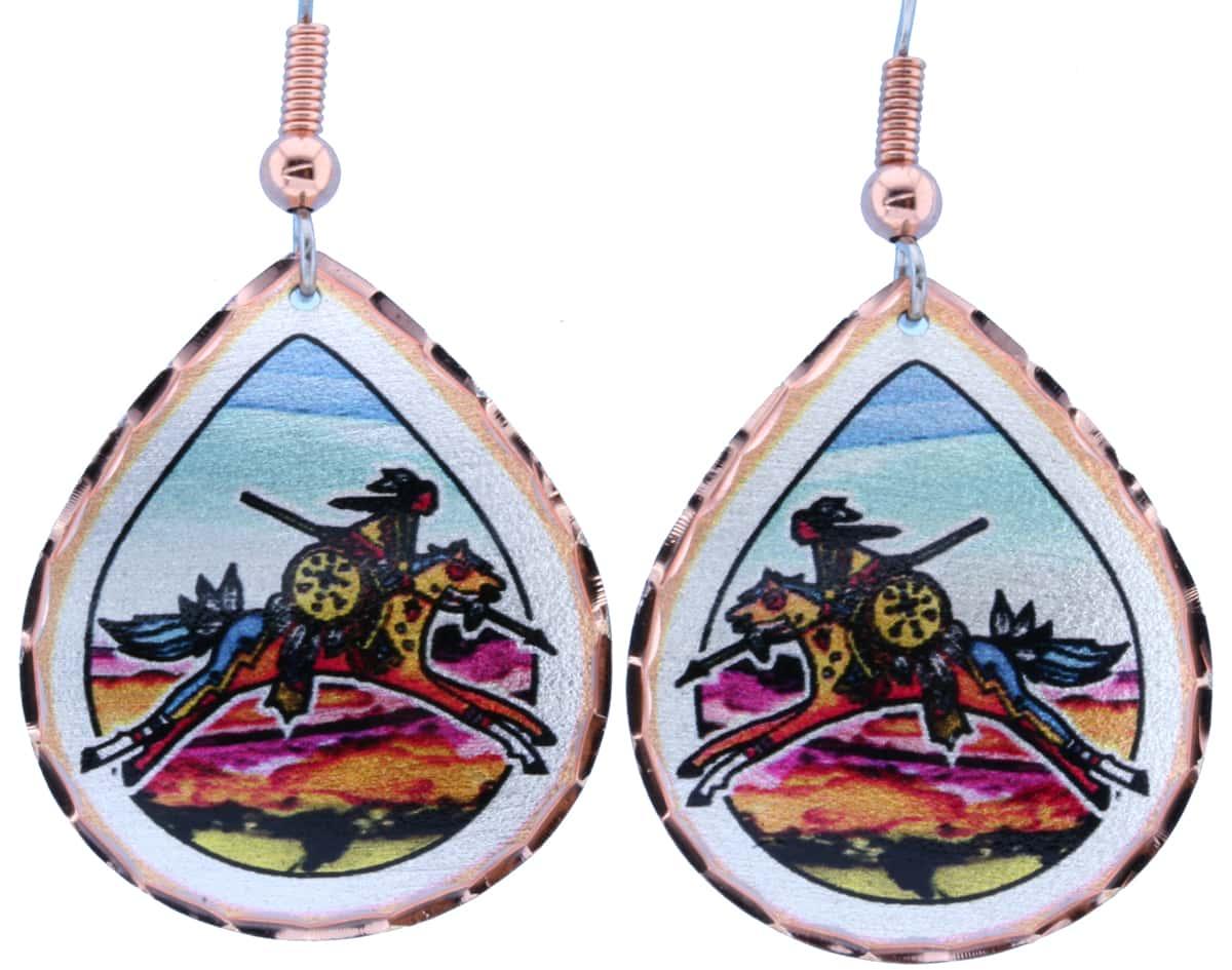 Teardrop American Indian Warrior Earrings