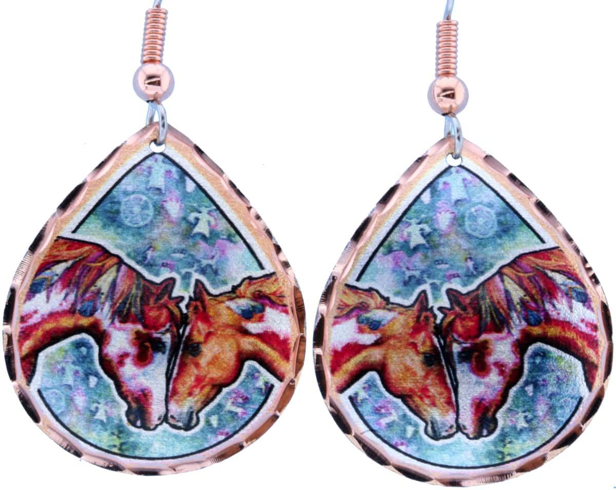 Teardrop Love Horses Earrings