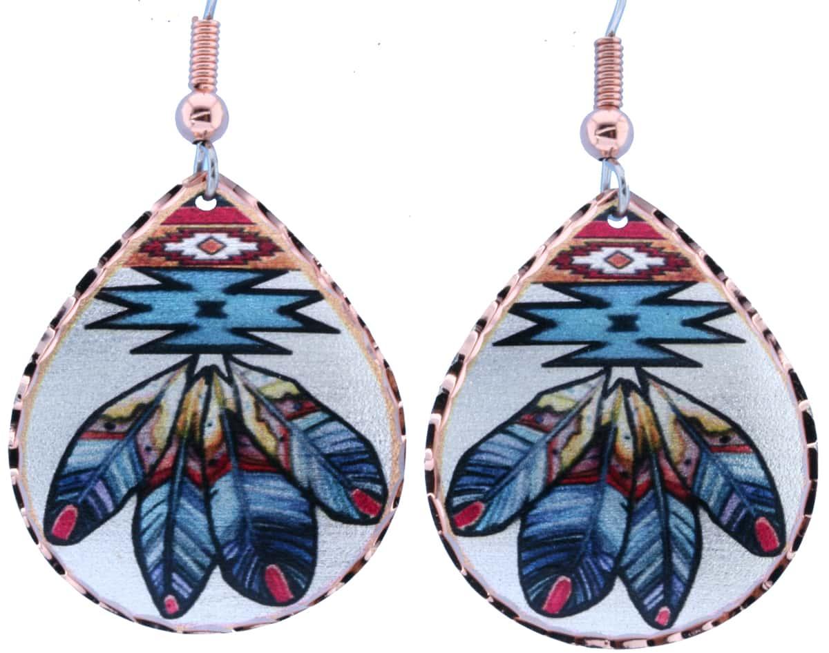 Teardrop Native Feather Copper Earrings