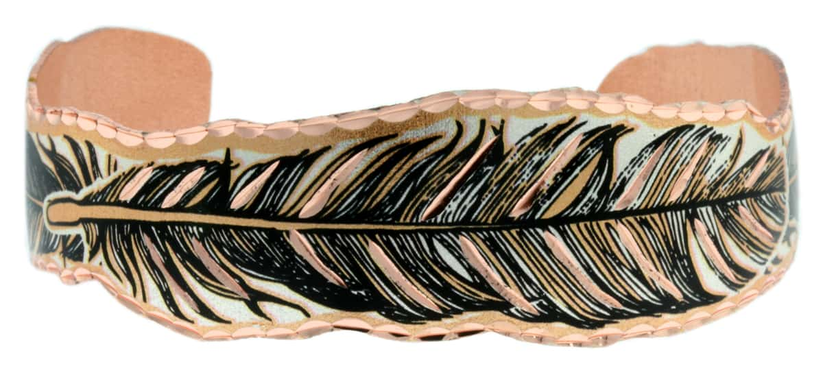 Silver Plated and Diamond Cut Copper Feather Bracelet