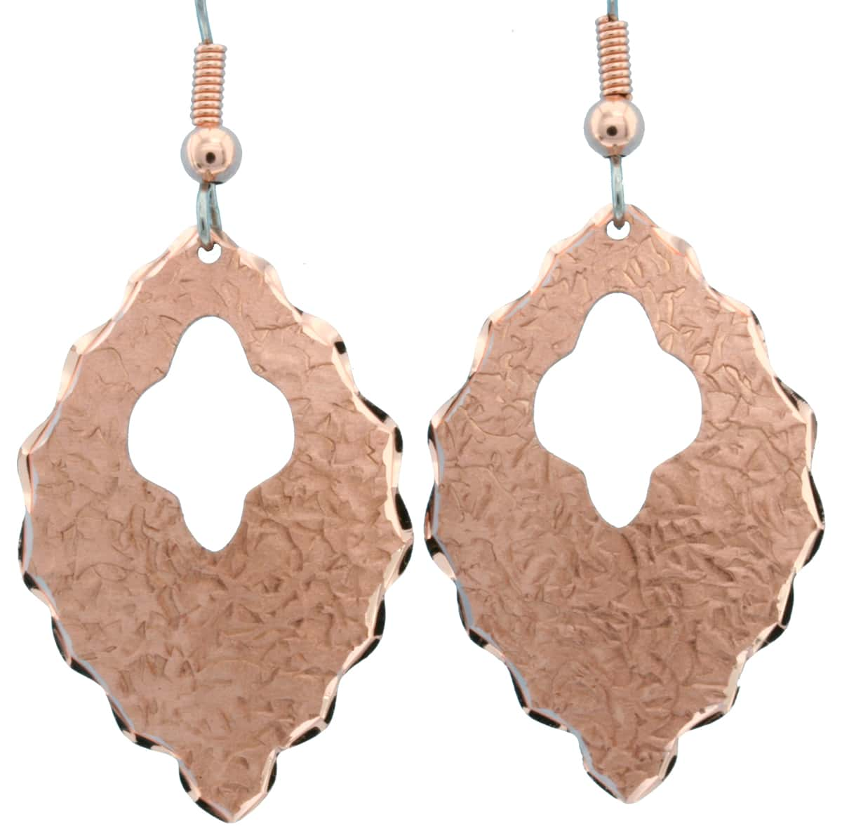 Cut Out Textured Copper Earrings