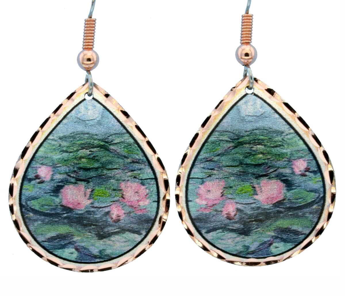 Claude Monet Water Lily Pond Teardrop Earrings MO-01