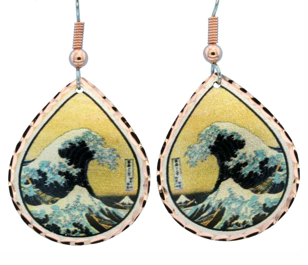 Katsushika Hokusai the Great Wave Earrings KH-01
