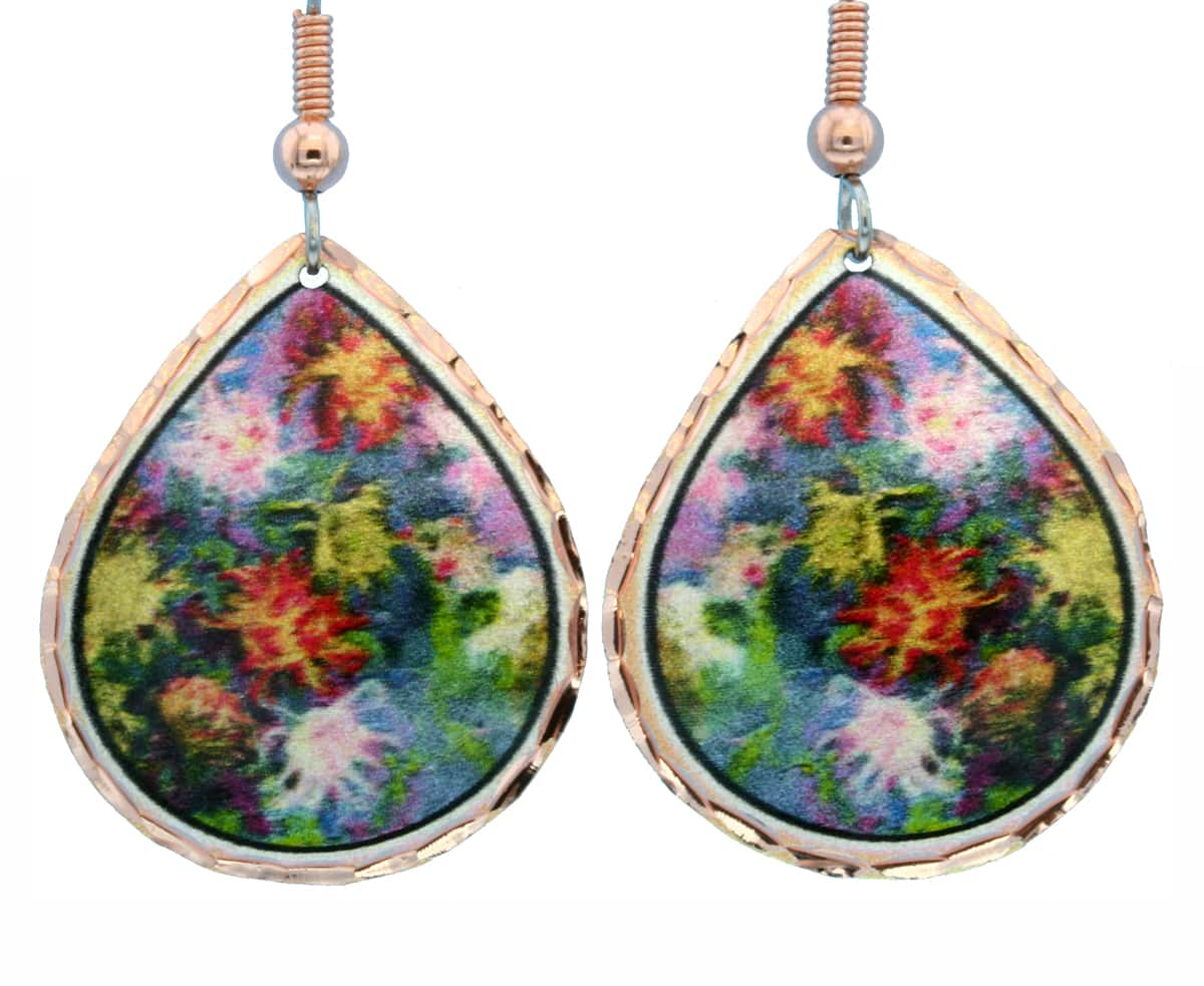 Monet Colorful Flowers Garden Giverny Earrings MO-05