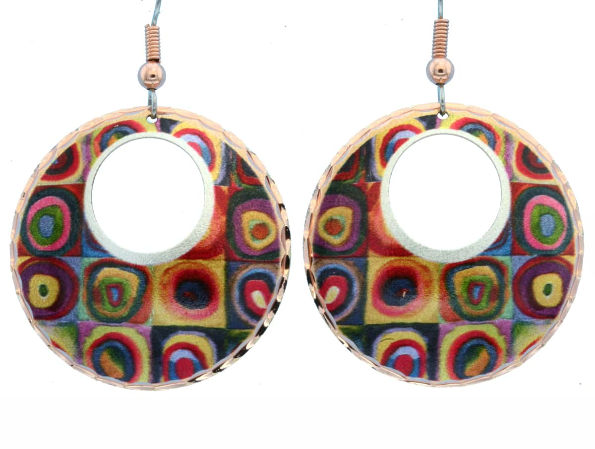 Wassily Kandinsky Squares with Concentric Circles Earrings WK-01