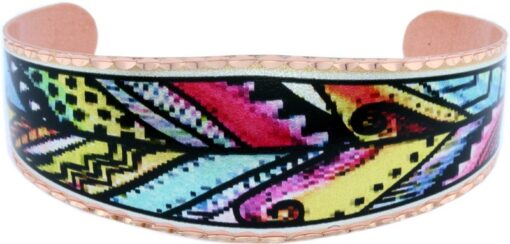 Colorful Abstract Copper Feather Bracelets