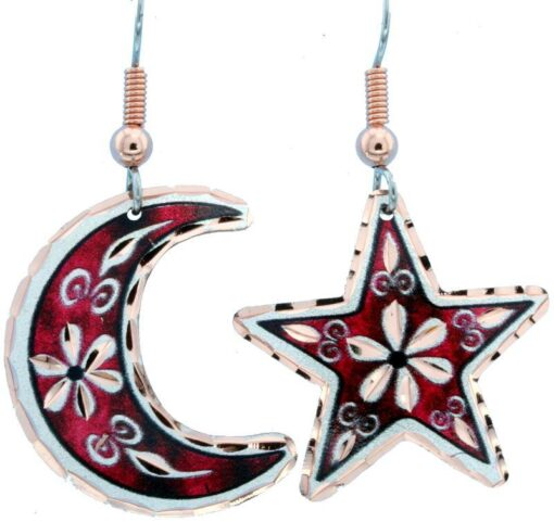 Red Moon and Star Flower Earrings