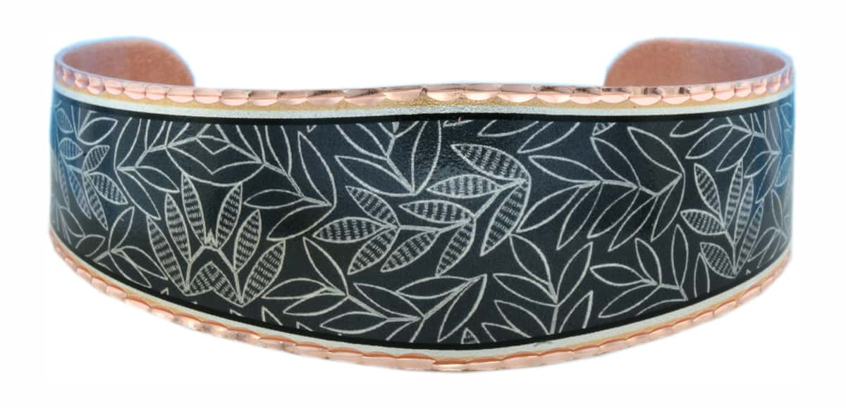 Black Background with Silver Leaves Bracelets BF-07