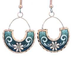 Copper Wire Jewelry Flower Earrings in Green Background FW-08