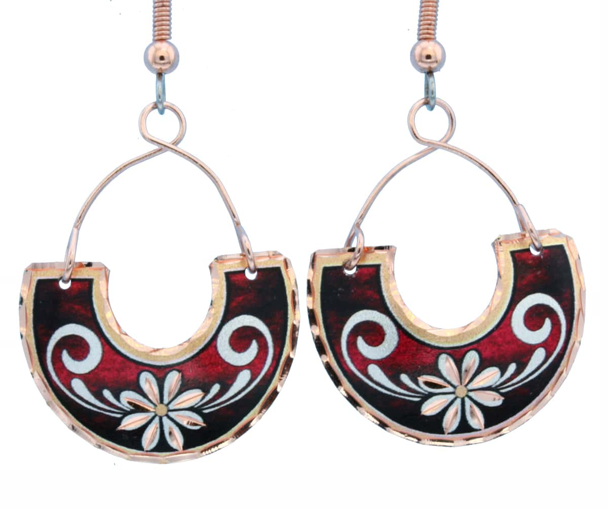 Copper Wire Jewelry Flower Earrings Red FW-05