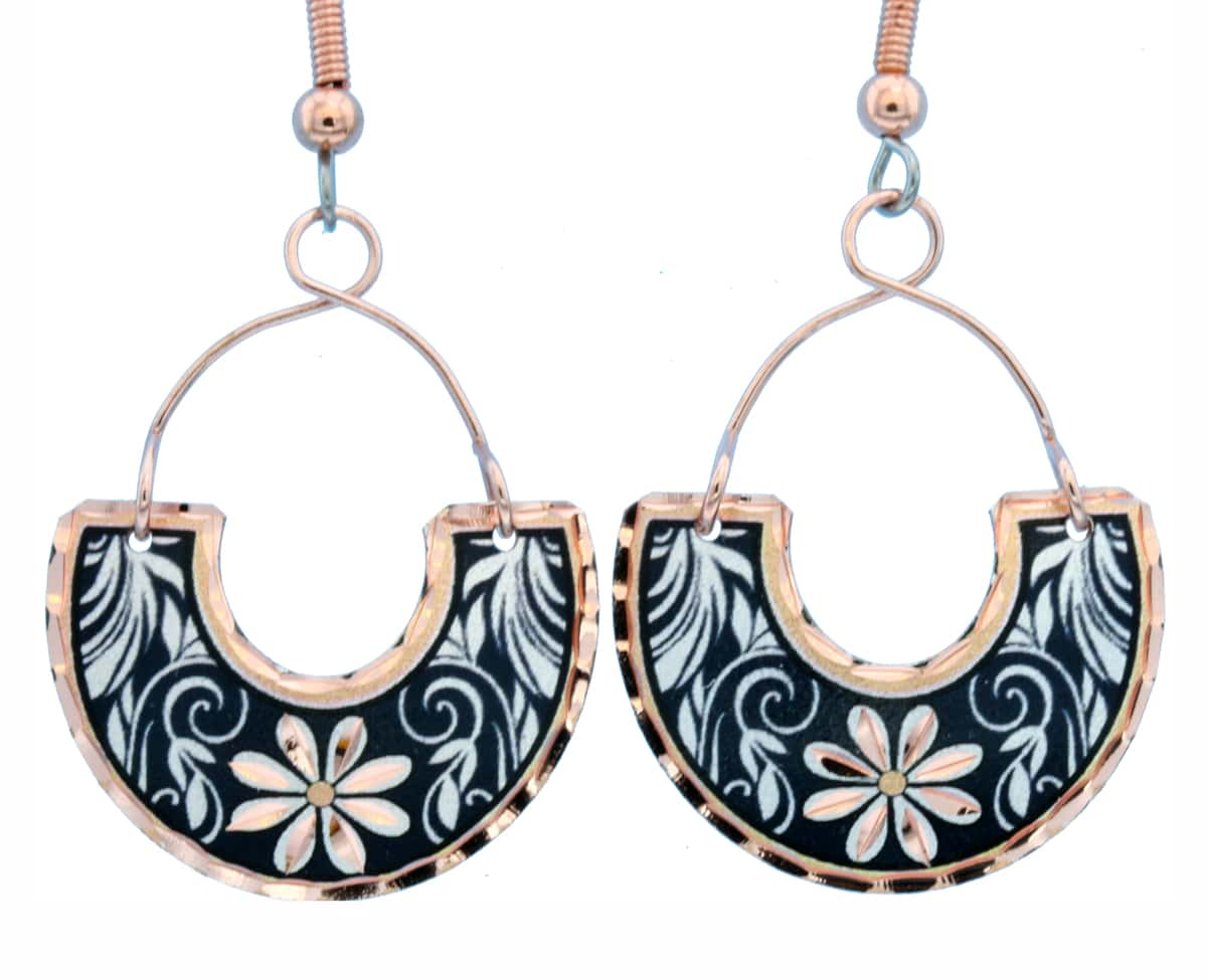 Copper Wire Jewelry Leaves and Flower Earrings Navy Blue