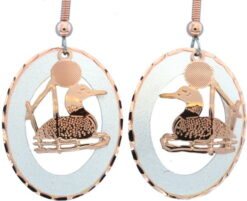 Etched Copper and Silver Circle Loon Earrings EC-19