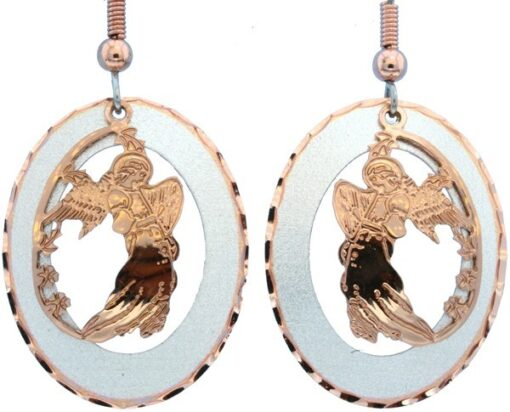 Etched Copper and Silver Circle Angel Earrings EC-65