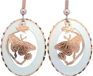 Alluring Etched Copper and Silver Circle Butterfly Earrings