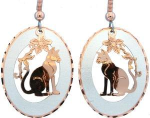 Buy Cute Cat Earrings Made by Etching from Copper