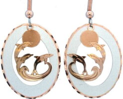 Etched Copper and Silver Circle Dolphins Earrings EC-75