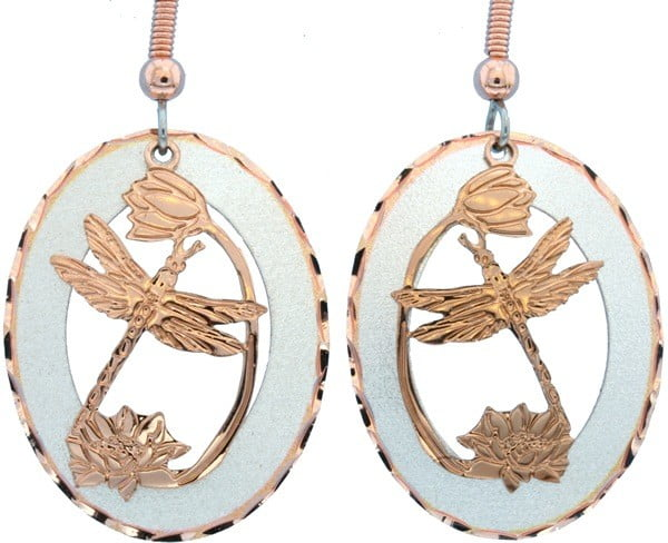 Etched Copper and Silver Dragonfly Earrings EC-56