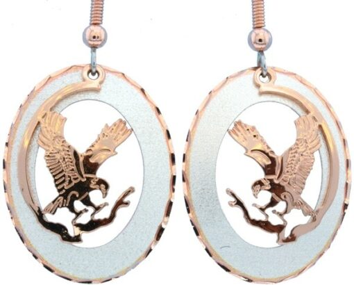 Etched Copper and Silver Eagle Earrings EC-46