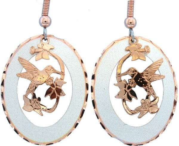 Etched Copper and Silver Flowers and Hummingbird Earrings EC-49