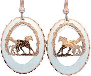Stunning Copper Etched Foal and Horse Earrings