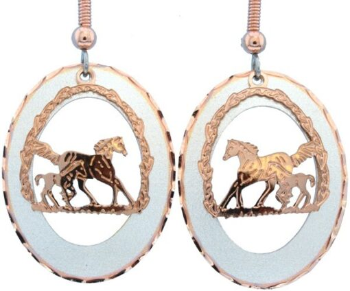 Etched Silver and Copper Foal and Horse Earrings EC-57