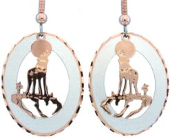 Etched Silver and Copper Howling Wolf Earrings EC-83
