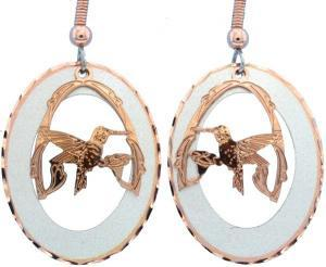 Hummingbird Earrings Etched Copper and Silver Plated Circle