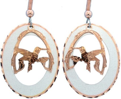 Etched Silver and Copper Hummingbird Earrings EC-44