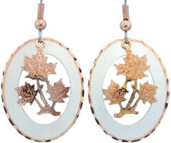 Etched Silver and Copper Maple Leaves Earrings EC-63