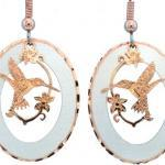 Luxurious Etched Copper Native Hummingbird Earrings