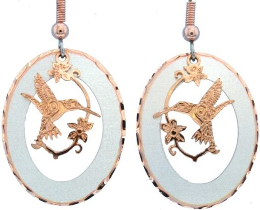 Etched Silver and Copper Native Hummingbird Earrings EC-47