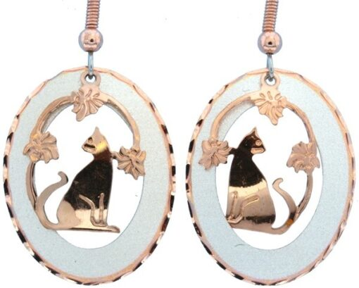 Etched Silver and Copper Sitting Cat with Flowers Earrings EC-66