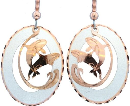 Etched Silver and Copper Whales Earrings EC-42