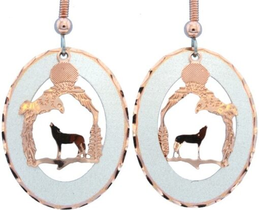 Etched Copper and Silver Circle Wolf and Eagle Earrings EC-15