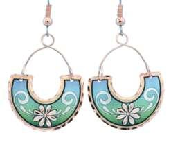 Wire Flower Earrings Aqua Green Blue FW-02