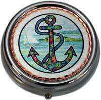 Nautical Sea Life Unique Gifts, Pill Boxes in Colorful Ship Anchor Design