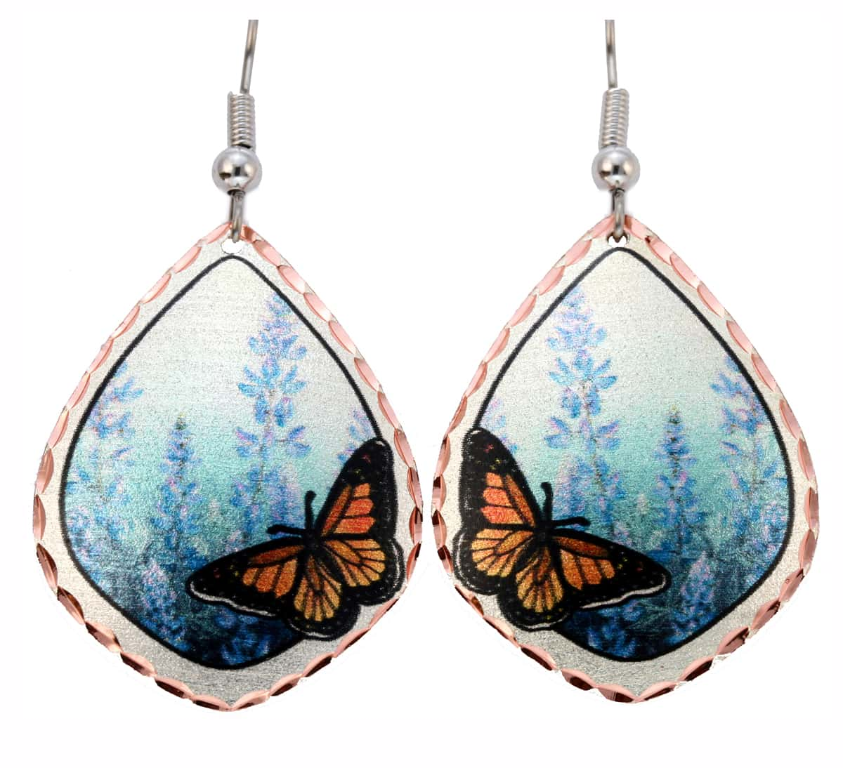 Butterfly and Lupine Flowers Earrings, Wholesale Coastal Jewelry